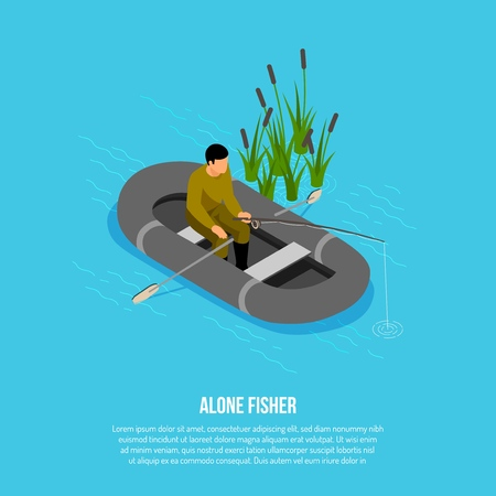 Fisherman with tackle during catching in rubber boat near reeds on blue background isometric vector illustration