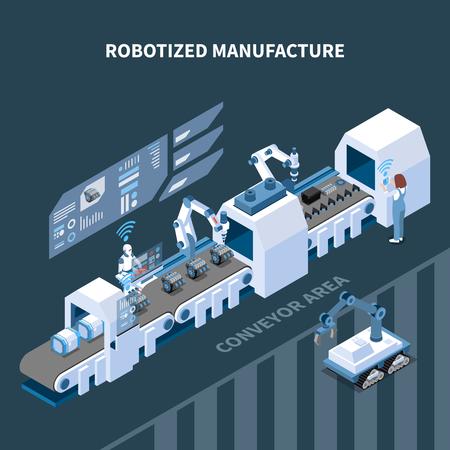 Composizione isometrica di produzione robotizzata con elementi di interfaccia dell'attrezzatura robotica del trasportatore automatizzato dell'illustrazione vettoriale del pannello di controllo Vettoriali