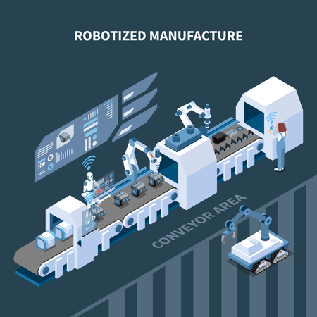 Robotized manufacturing isometric composition with automated conveyor robotic equipment interface elements of control panel vector illustration Vettoriali