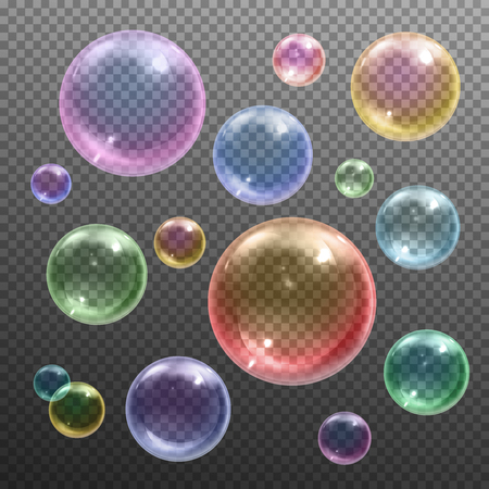 Iridescent colored shiny various sizes round soap bubbles floating against dark transparent background realistic vector illustration