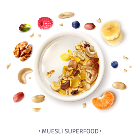 Muesli healthy super food bowl top view realistic composition with grains banana slices nuts berries vector illustration Illustration