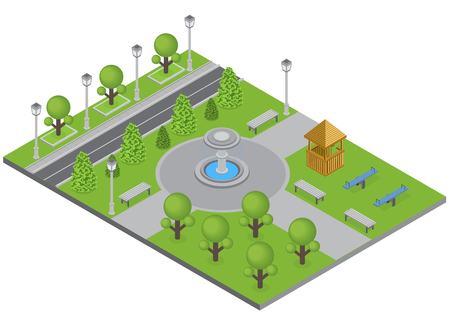 City park with trees fountain and sports ground isometric vector illustration Stock Illustratie