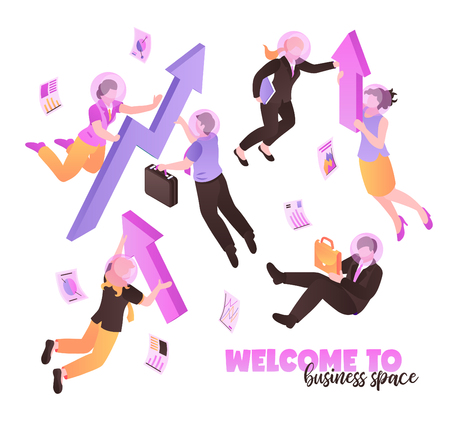 Welcome to business space white background with people holding briefcases and folders and flying  in zero gravity isometric vector illustration