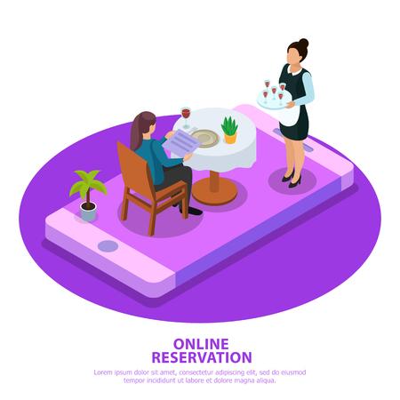 Isometrischer Zusammensetzungskellner der Online-Reservierung während des Kundenservice auf dem Bildschirm des mobilen Geräts weiß-violetter Hintergrundvektorillustration