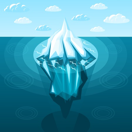 Winter landscaping iceberg with pointed top and reflection on background of sky and sea isometric vector illustration Illusztráció