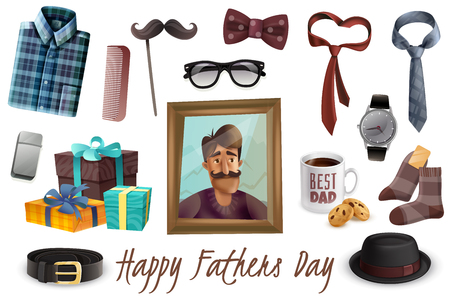 Happy fathers day celebration accessories presents realistic set with ties dad picture glasses shirt hat vector illustration