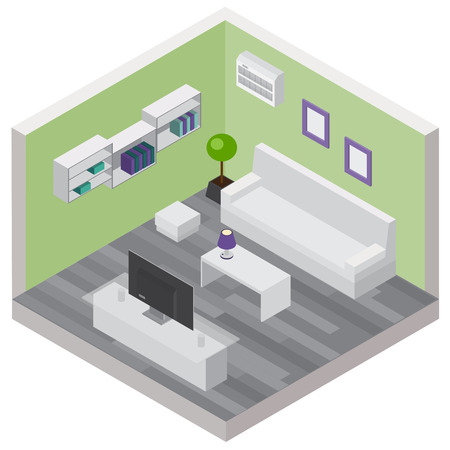Living room isometric composition with comfortable furniture and modern wireless devices 3d vector illustration