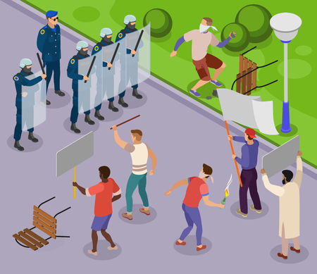 Activists isometric poster with teens using stones and molotov cocktails against police officers armed with batons and shields isometric vector illustration