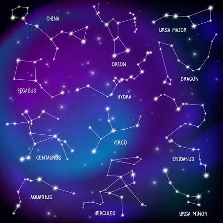 Astronomical celestial sphere constellations night sky stars map purple background scientific educational decorative poster print vector illustration