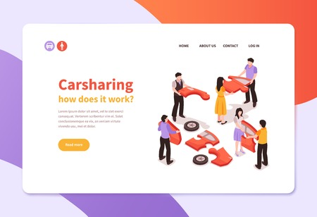 Isometric car sharing concept banner with people holding automobile parts 3d vector illustration