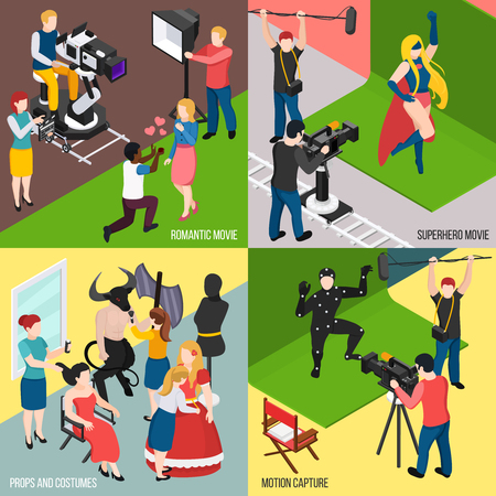 Super hero and romantic movies motion capture cinema props and costumes isometric design concept isolated vector illustration
