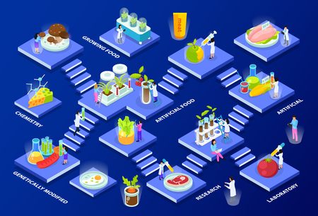 Scientists with lab equipment and artificial food products isometric multi storey composition on blue background vector illustration Illustration