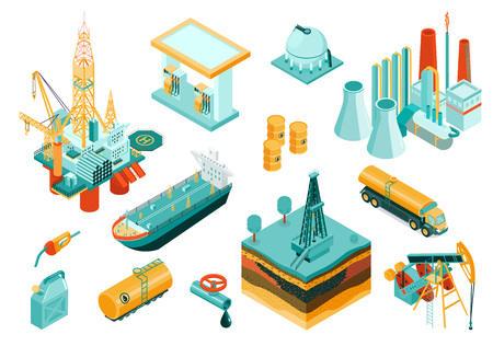 Isolated and isometric oil industry icon set with different elements and equipment describing the industry vector illustration Banque d'images - 113936771