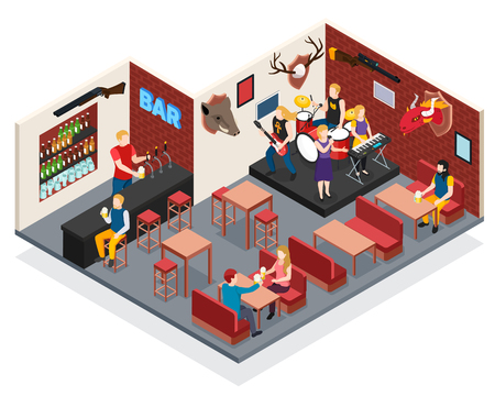 Bar with live music isometric composition with singer and musicians drummer guitarist keyboard player vector illustration