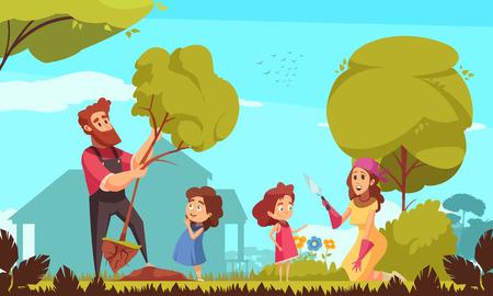 Familie Gartenarbeit Eltern mit Kindern während der Bäume Pflanzen und Pflege von Blumen auf blauem Hintergrund Vektor-Illustration