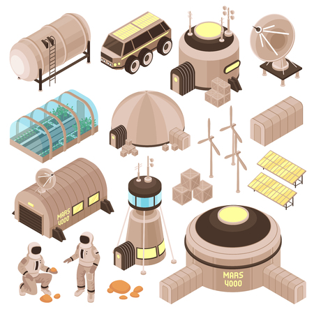 Space base buildings and astronauts on mars isometric set 3d isolated vector illustration