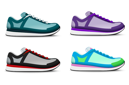 Colorful trendy sport training running tennis shoes realistic set of 4 right foot sneakers isolated vector illustration Illustration
