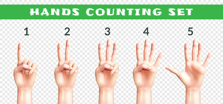 Set of men hands counting from one to five isolated on transparent background realistic vector illustration