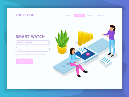 People and interfaces isometric composition with get started button menu and smart watch headline vector illustration