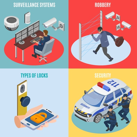 Security systems isometric 4 icons square concept with surveillance technology robbery protection electronic locks isolated vector illustration