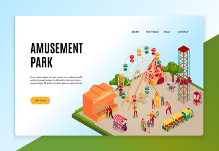 Amusement park with visitors during entertainments isometric concept of web banner on light background vector illustration Illustration