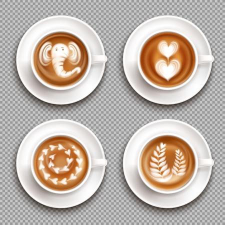 Realistische witte kopjes met latte art afbeeldingen bovenaanzicht op transparante achtergrond geïsoleerde vectorillustratie Vector Illustratie