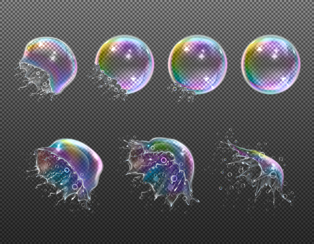Explosion stages of realistic round soap bubbles with splashes on transparent background isolated vector illustration