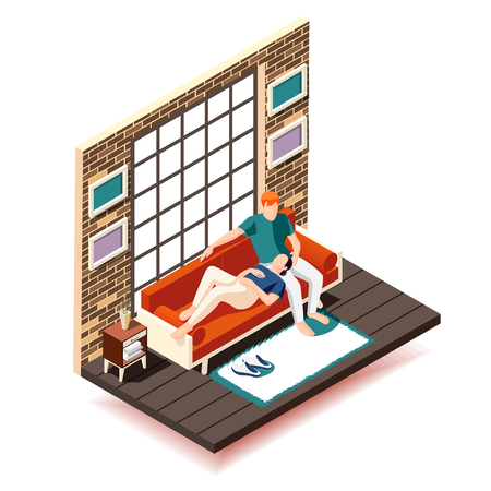 Home rest weekend isometric composition wife and husband on sofa during leisure near big window vector illustration