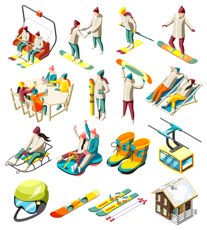 Ski resort elements set of isometric icons with skiers and snowboarders with sports equipment isolated vector illustration