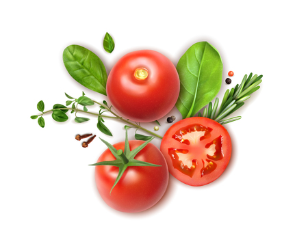 Fresh tomatoes whole and slices realistic composition with basil oregano rosemary herbs aromatic clove spice vector illustration