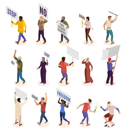 Aktivisten isometrische Symbole von Personen, die an politischen Demonstrationen beteiligt sind und isolierte Vektorillustration streiken