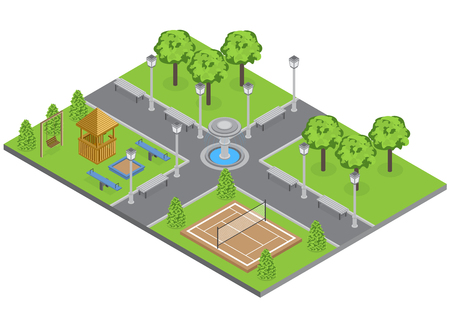 Suburbia park with trees lawn and sports ground isometric vector illustration