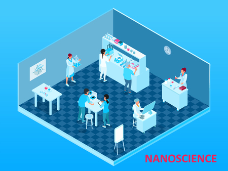 Composición de nanotecnología isométrica coloreada con sala de laboratorio aislada con científicos y equipo ilustración vectorial
