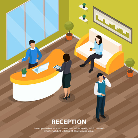 Office staff at reception isometric background with interior elements vector illustration