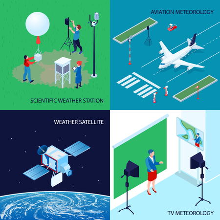 Four squares isometric meteorological weather center design concept with scientific weather station tv and aviation meteorology vector illustration