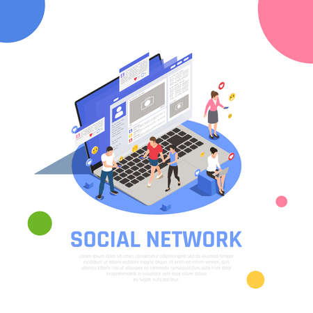 Social media network isometric composition on laptop with applications smartphone addicted users communicating messages  sharing vector illustration 矢量图像
