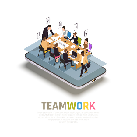 Teamwork collaboration benefits isometric composition on smartphone with group work  sharing ideas making decisions together vector illustration