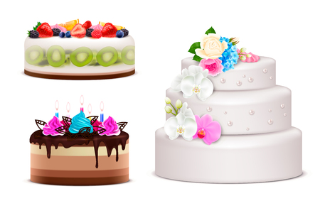 Realistic set of birthday and wedding festive cakes decorated by cream bouquet lighted candles and fresh fruits isolated vector illustration