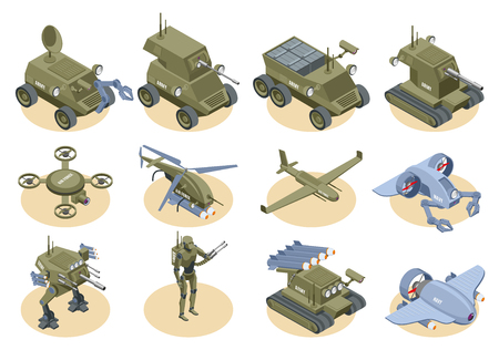 Military robots isometric icons set of underwater robot sapper air drones shooter tanks and trucks isolated vector illustration Иллюстрация