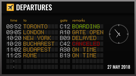 Black electronic airport board realistic composition with departures time gates and flight directions vector illustration Illusztráció