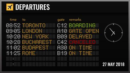 Zwarte elektronische luchthavenbord realistische compositie met vertrektijdpoorten en vluchtrichtingen vectorillustratie