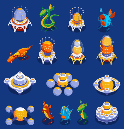 Colorful cartoon set of cute monster and alien creatures and interplanetary aircrafts for kid games isolated vector illustration