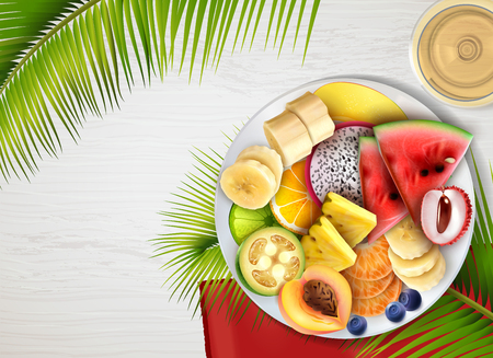 Assorted tropical fruits slices plate realistic top view with banana lychee lime pineapple peach papaya vector illustration