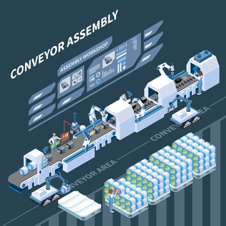 Smart assembly line with robotic equipment and augmented reality operations isometric composition on dark background vector illustration