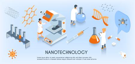Kolorowy izometryczny skład poziomy nanotechnologii z naukowcem pracującym na ilustracji wektorowych w laboratorium