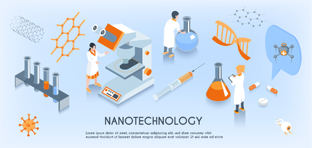 Colored isometric nanotechnology horizontal composition with scientist work in the laboratory vector illustration