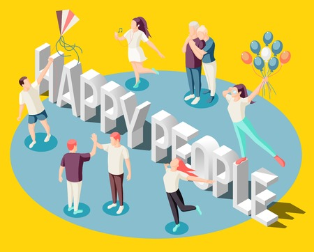 Happy people dancing with balloons spending time together enjoying life  isometric bright yellow background poster vector illustration