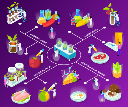Artificial food isometric flowchart with scientists during experiments with eating ingredients on purple background vector illustration Illustration