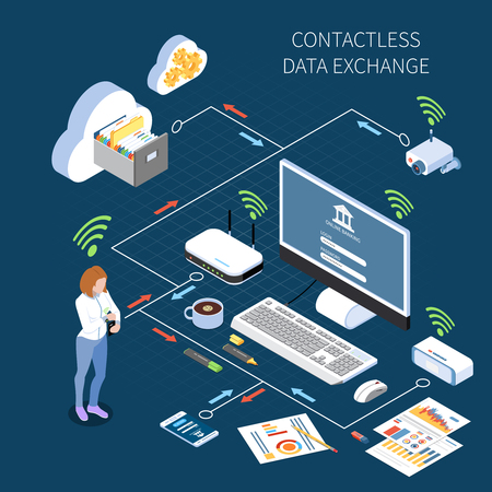 Wearable technology smart clothes isometric composition flowchart with electronic devices being controlled by items of clothing vector illustration