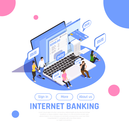 Internet banking home page isometric design with sign in button online payment money transfer composition vector illustration Illustration